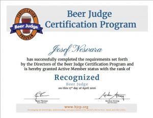 BJCP Recognized Certified Beer Judge